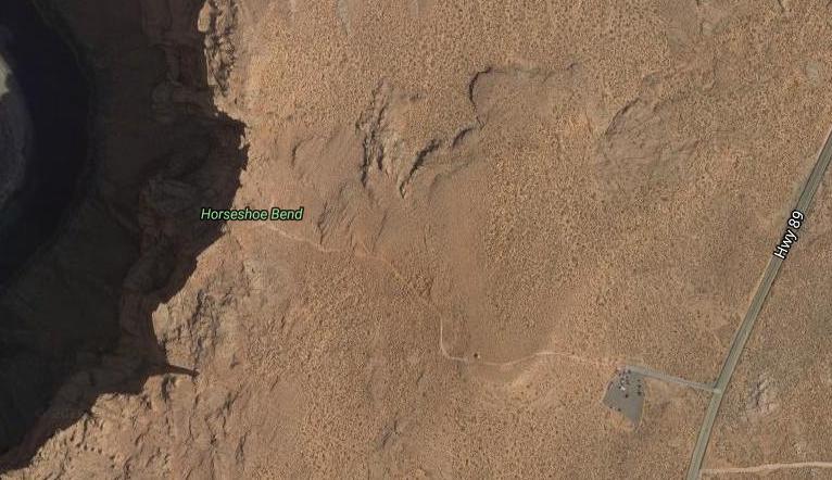 Mapa camino Horseshoe Bend desde satélite.