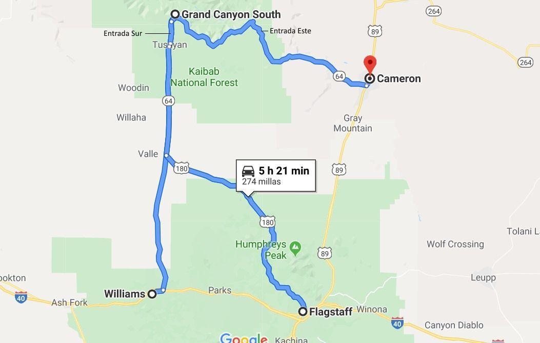 mapa grand canyon south