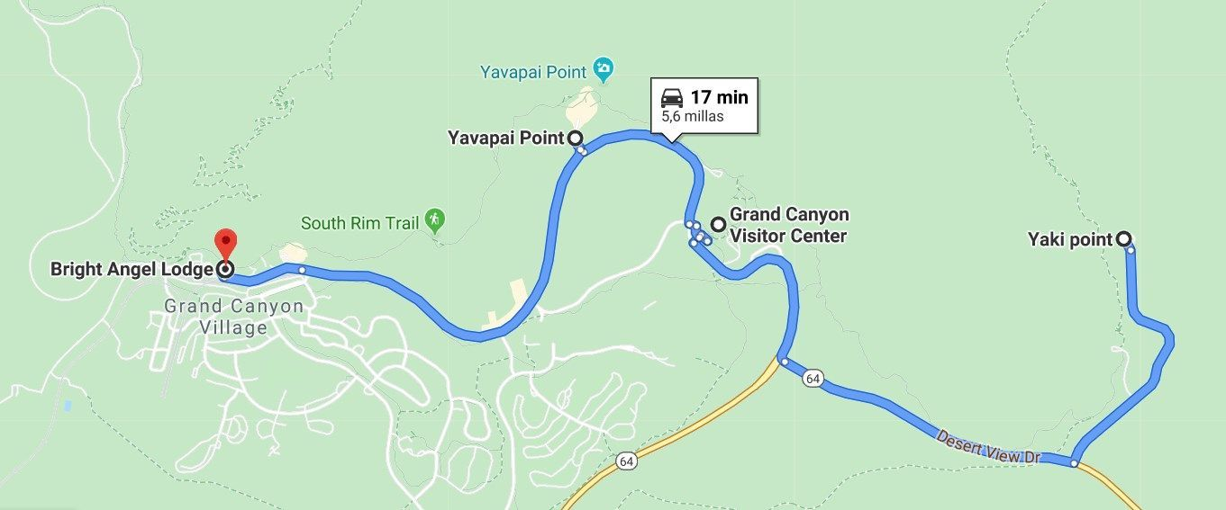 Mapa visitor center Grand Canyon