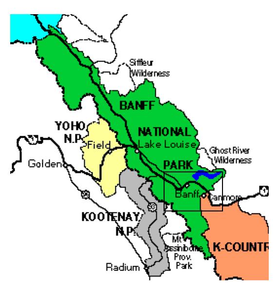 mapa de un viaje a banff