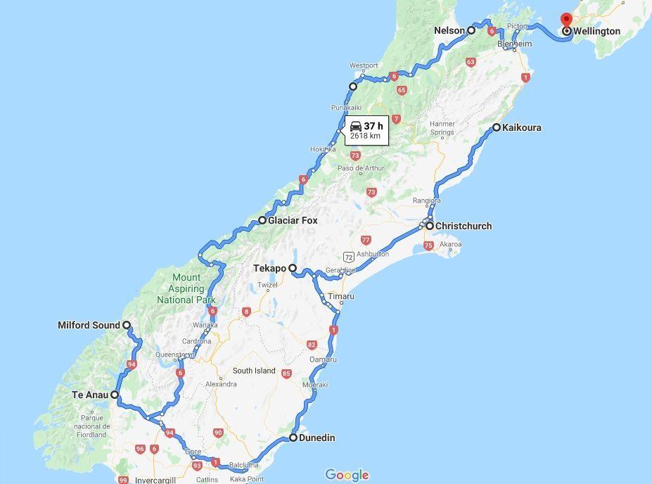 mapa nueva zelanda isla sur