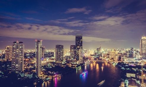 Beautiful architecture in bangkok city skyline at night in Thailand - Filter effect
