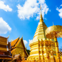 Gold Pagoda beautiful architecture in Wat Phrathat Doi Suthep landmark of Chiangmai in Thailand