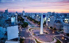View over Avenida 9 Julio and the obelisk in Plaza Republica:: Buenos Aires:: Argentina.