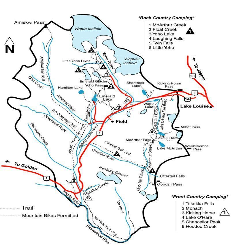 viaje a Banff a conocer al yoyo national Park mapa