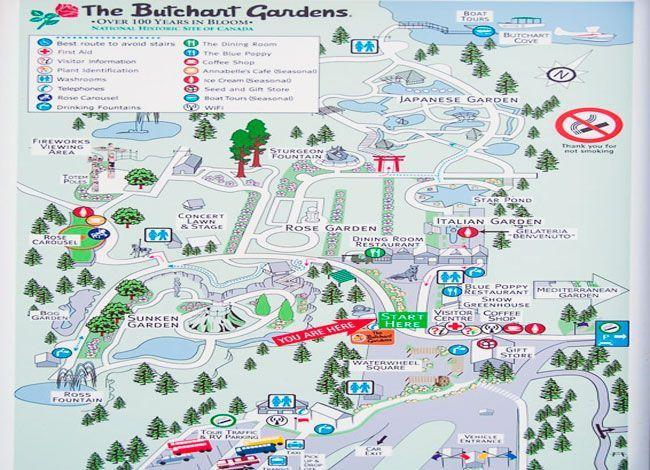 mapa de viaje jardines de Butchart en victoria