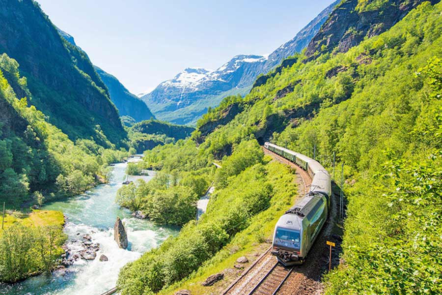 Tren de Flam de un Viaje a Noruega