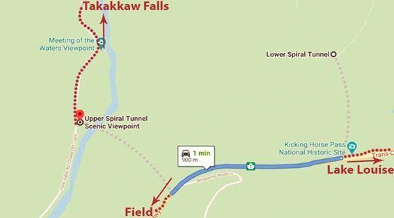 Mapa Kicking Horse Pass