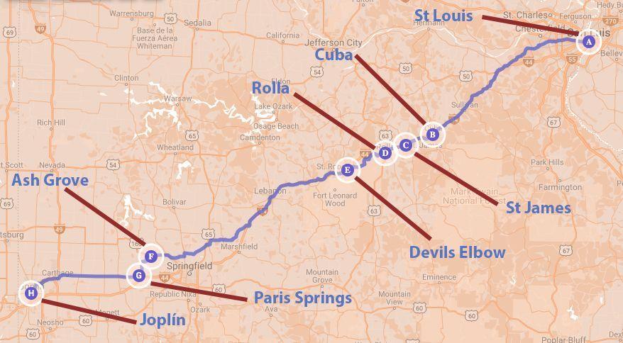 recorrido de St Louis a Joplin