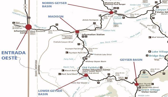 mapa entrada west yellowstone