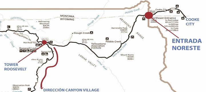 mapa entrada yellowstone noroeste