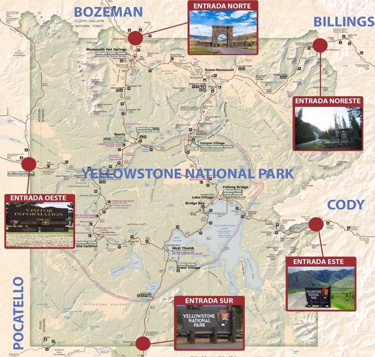 Mapa entradas Yellowstone